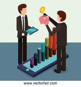 businessmen with tablet piggy bank cellphone chart money isometric