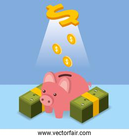 dollar coins pouring piggy bank money isometric
