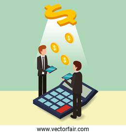 businessmen with tablet and calculator dollar money isometric
