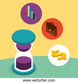hourglass briefcase chart and dollar money isometric