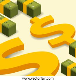 business bank stacked banknotes and dollar money isometric