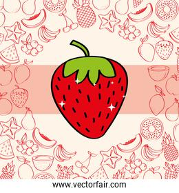 strawberry fruits nutrition background pattern drawing color