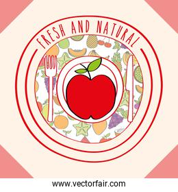 apple fresh and natural fruits food label