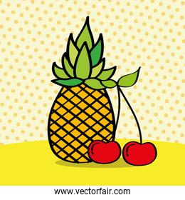 fresh pineapple and cherries on dotted background