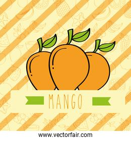 striped background with delicious fresh nature mango