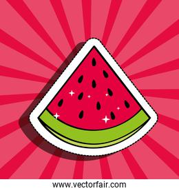 fresh watermelon delicious fruit drawing sticker image