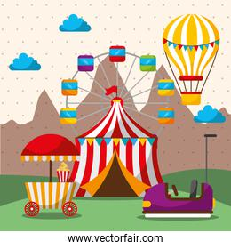 tent ferris wheel hot air balloon bumper car carnival fun fair festival