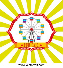 ferris wheel carnival fun fair retro label