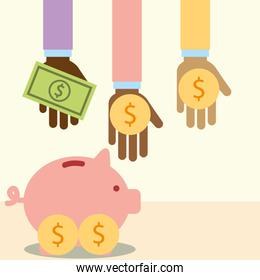 multiethnic hands with money piggy donate charity
