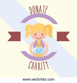 little girl with kawaii jar coins donate charity label