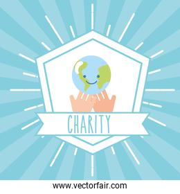 hands with kawaii world retro emblem charity