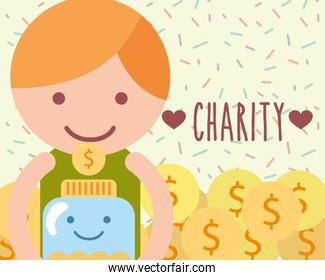 little boy with jar glass coins currency charity