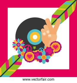 vinyl disc music feathers flowers hippie free spirit