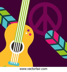 musical guitar feathers peace and love sign hippie free spirit