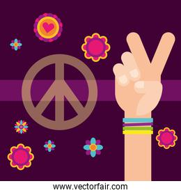 hippie hand peace and love flowers free spirit