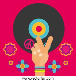 musical guitar vinyl disc hand flowers free spirit