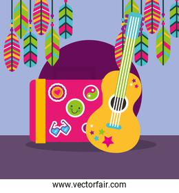 musical guitar suitcase feathers stickers boho free spirit