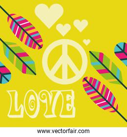 love peace sign feathers ornament free spirit
