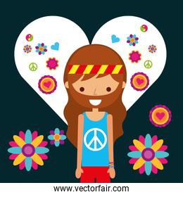 hippie man character in love heart flowers