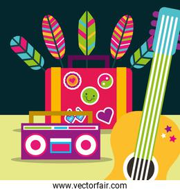 guitar and radio suitcase feathers free spirit