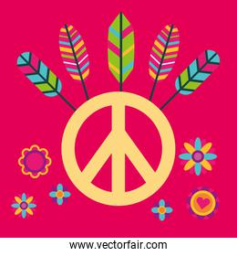 peace and love sign with colored feathers