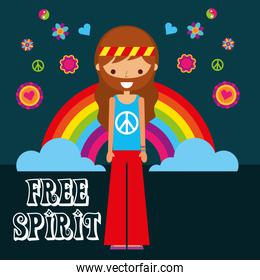 hippie man rainbow flowers free spirit