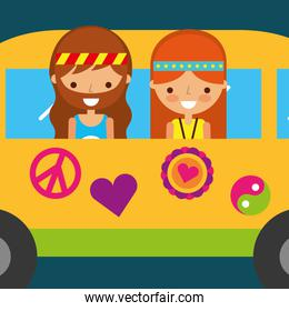 hippie woman and man in van vintage free spirit