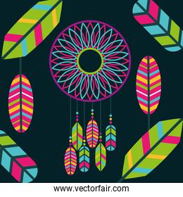 retro dream catcher with colored feathers bohemian