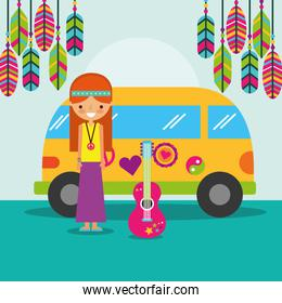 hippie woman guitar and van bohemian free spirit