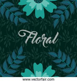 green flowers leaves foliage natural floral background