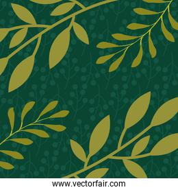 green branches leaves foliage natural floral pattern