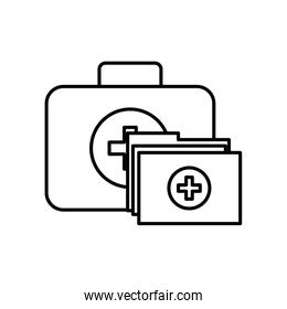kit first aid folder report medical over white
