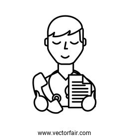 doctor professional holding telephone and paper