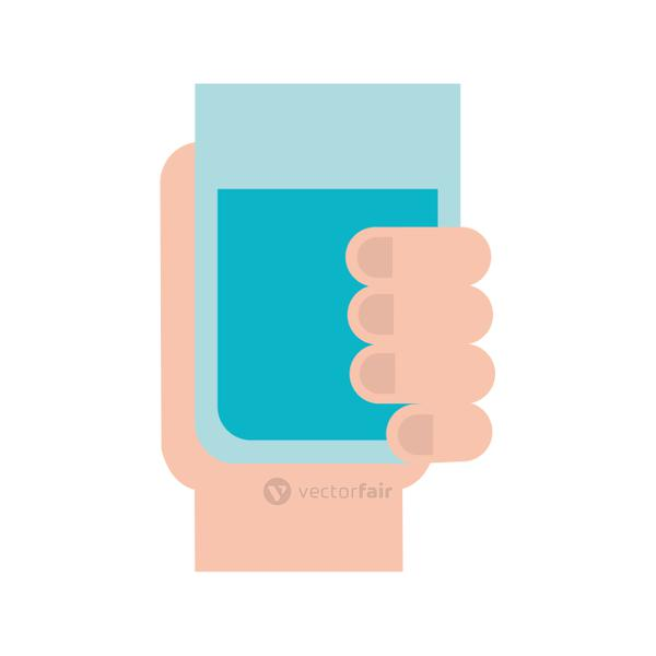 hand holding water glass beverage