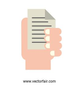 hand holding document paper text