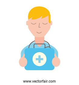 doctor professional with emergency kit first aid