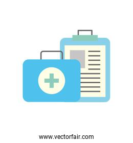 clipboard medical report and kit first aid
