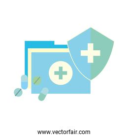 medical folder and pills shield protection