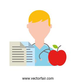 doctor portrait documents and apple healthcare