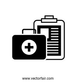 clipboard medical report and kit first aid silhouette style icon