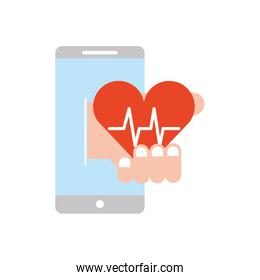 smartphone online service medical hand with heartbeat