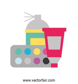 graphic design spray color tool tube and palette
