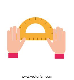 graphic designer hands with protractor tool