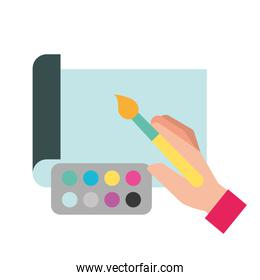 graphic designer hands with brush color painting