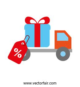 online shopping logistic truck delivery gift tag