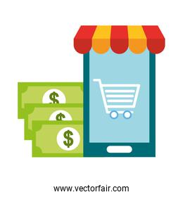 smartphone cart banknote money online shopping