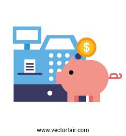piggy bank cash register money online shopping