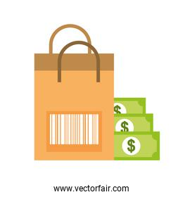 paper bag barcode banknote money online shopping