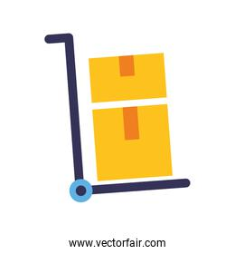 hand cart cardboard boxes delivery