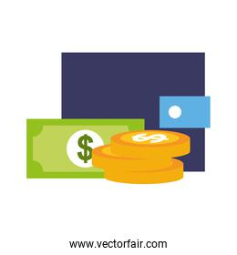 wallet coins banknote money online shopping